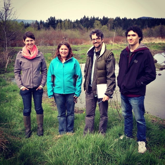 (L-R) Mehan, Kai, Neil and Jason in front of Nash Wetland.