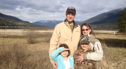 The Dehnel Family in Front of the Ephemeral Harrop Wetlands