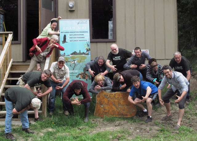 The group imitates water scorpions - a technique learned from Brian!  Photo by Eryne Donahue.