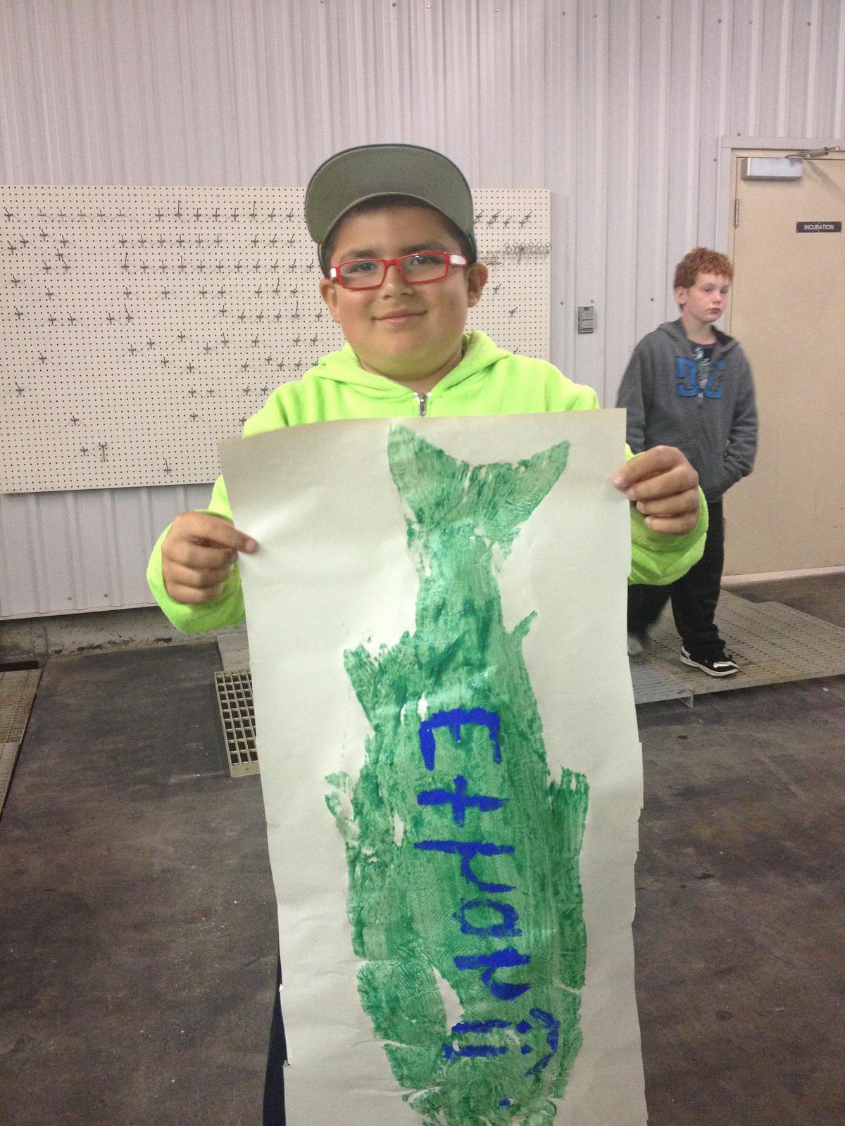 """Ethan Displays his """"Fish Print"""""""