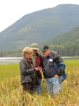 Participants mapping a wetland on Lower Little Slocan Lake