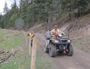 Dave Carleton's clever way to lay down barbed wire. Using his ATV to protect a wetland rather than destroy one.