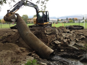 Tim Nakeshoji (Construction manager) in action removing culverts.