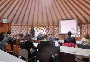 Participants at the Map Our Marshes Workshop in the UBC Farm yurt.
