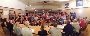 Hundreds of Slocan residents attend a meeting in Winlaw Hall. Image courtesy of www.nelsonstar.com