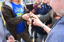 The brave students touching the garter snake, the first of several that were caught over the two week program! Snakes urinate a foul smelling excrement when threatened, so we put this guy back in the tall grasses before he became too agitated.