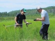 Pulling out a soil sample
